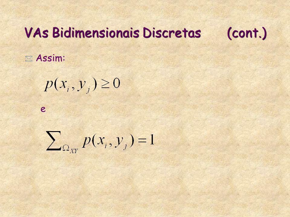 VAs Bidimensionais Discretas (cont.)