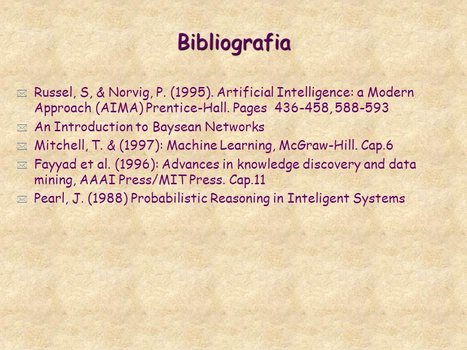 BibliografiaRussel, S, & Norvig, P. (1995). Artificial Intelligence: a Modern Approach (AIMA) Prentice-Hall. Pages 436-458, 588-593.