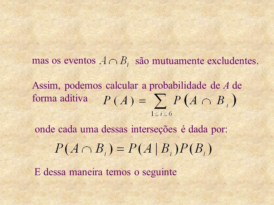 mas os eventos são mutuamente excludentes. Assim, podemos calcular a probabilidade de A de. forma aditiva.