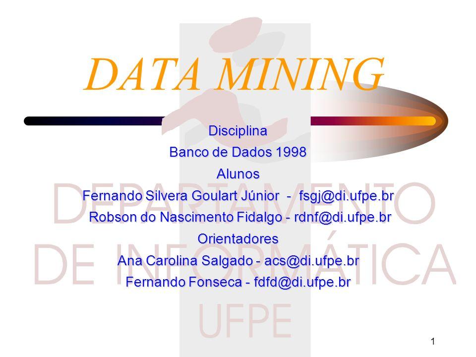 DATA MINING Disciplina Banco de Dados 1998 Alunos