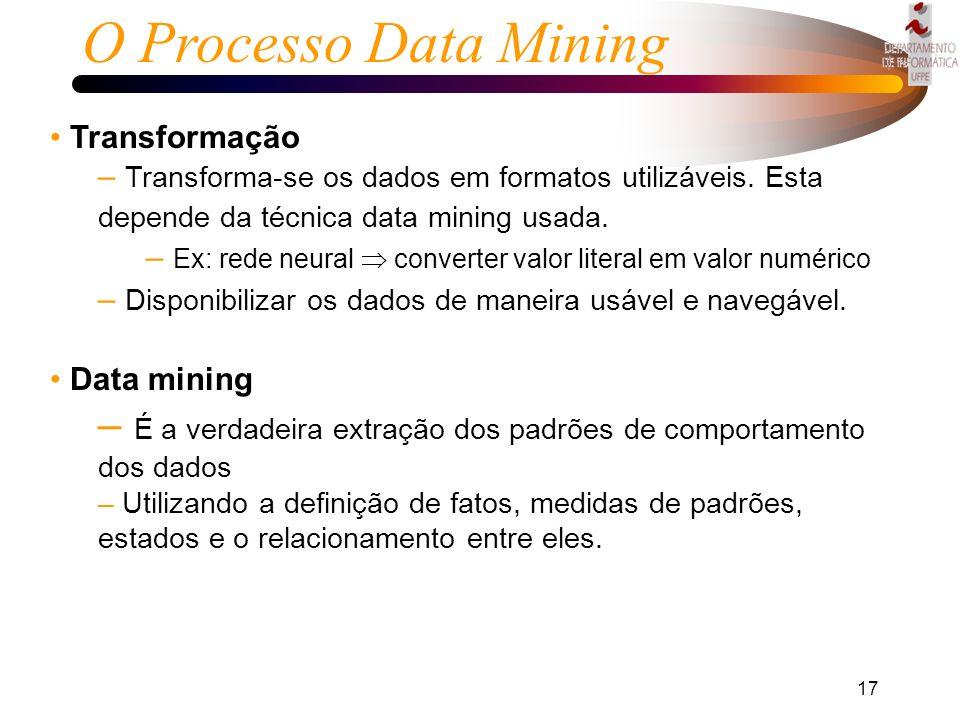 O Processo Data Mining Transformação. Transforma-se os dados em formatos utilizáveis. Esta depende da técnica data mining usada.