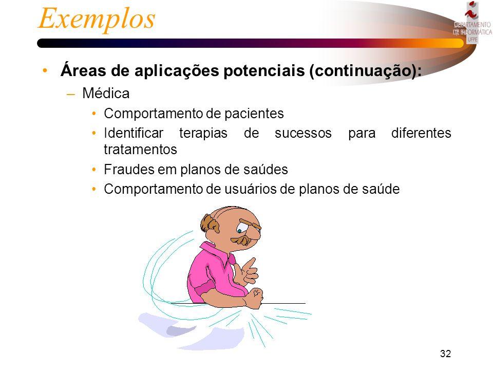 Exemplos Áreas de aplicações potenciais (continuação): Médica