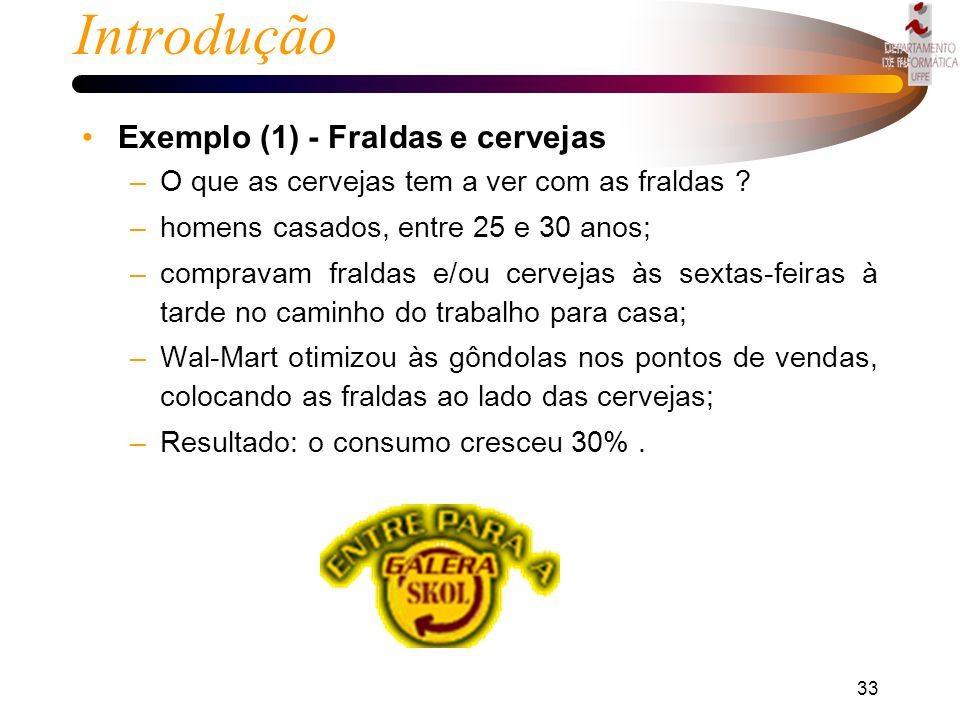 Introdução Exemplo (1) - Fraldas e cervejas
