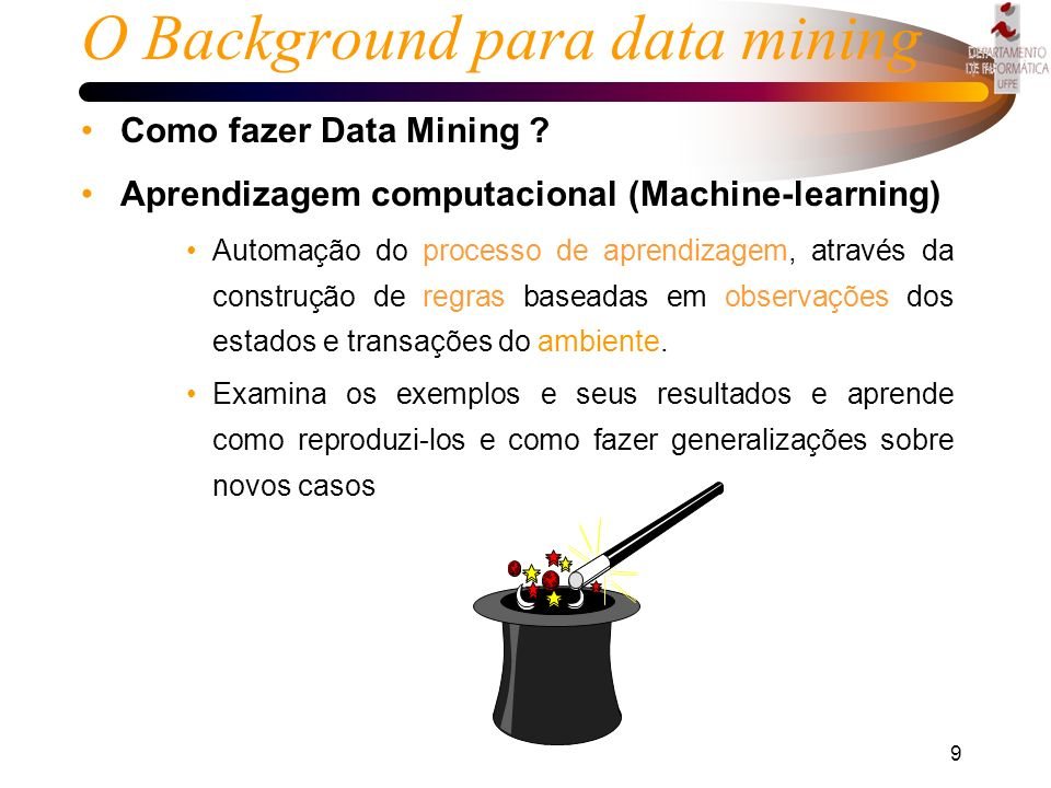 O Background para data mining