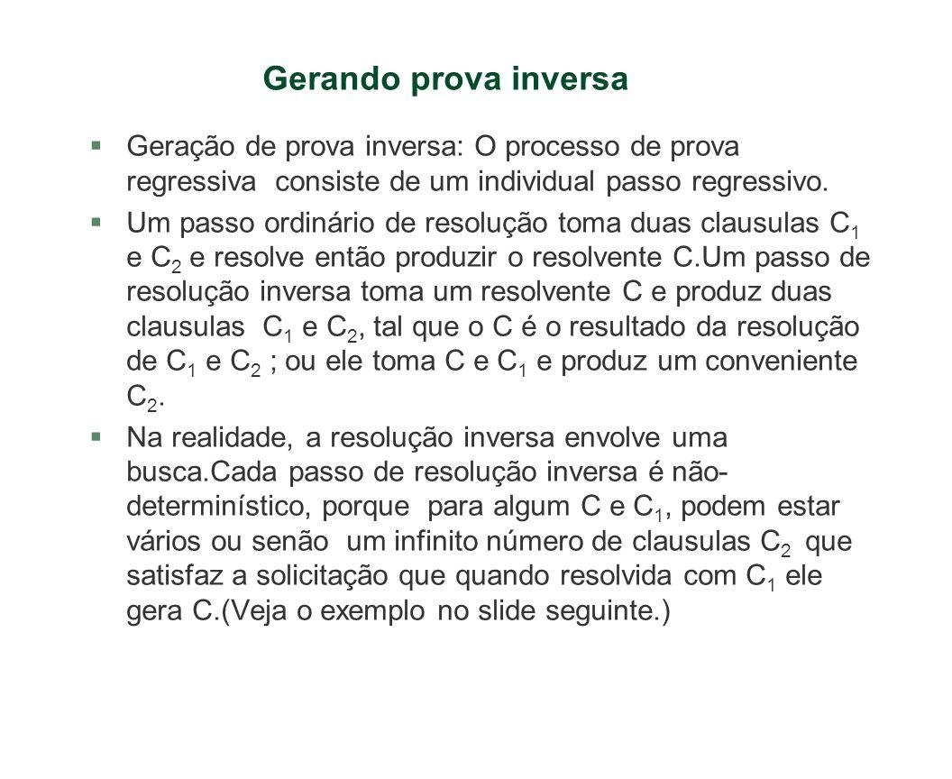 Gerando prova inversa Geração de prova inversa: O processo de prova regressiva consiste de um individual passo regressivo.