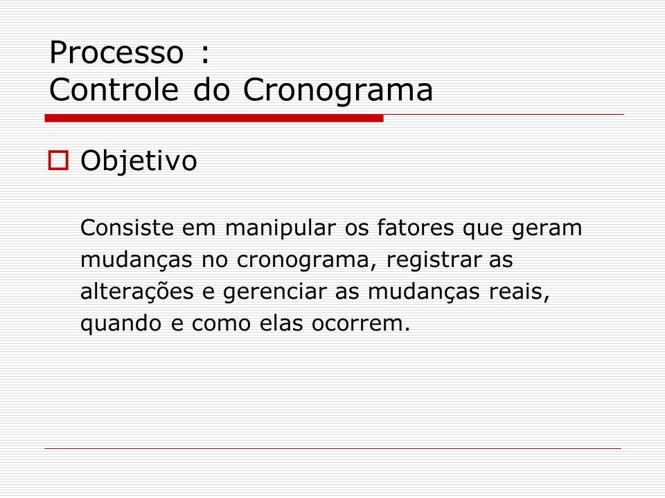 Processo : Controle do Cronograma