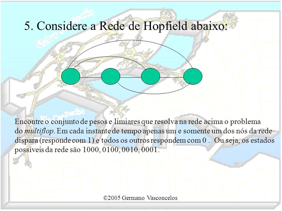 5. Considere a Rede de Hopfield abaixo: