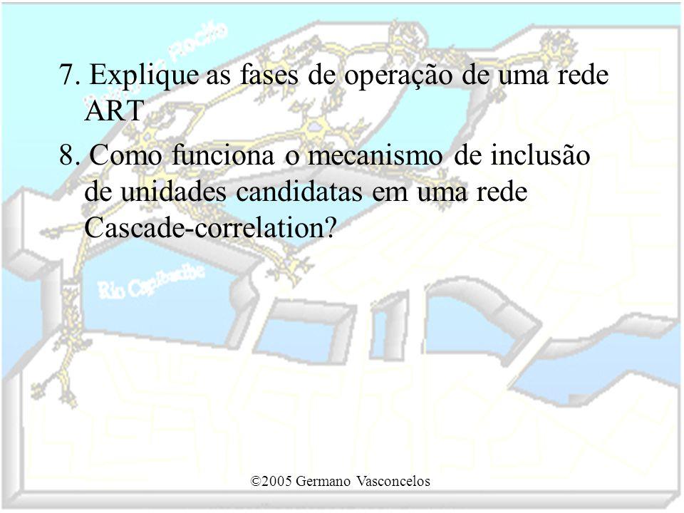 7. Explique as fases de operação de uma rede ART