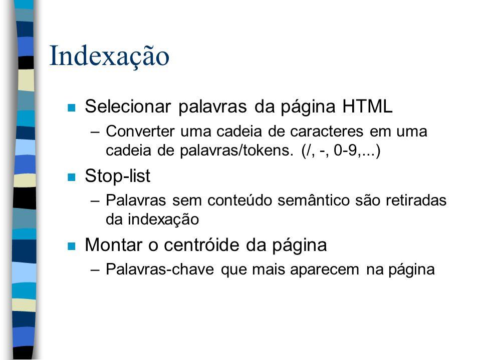 Indexação Selecionar palavras da página HTML Stop-list