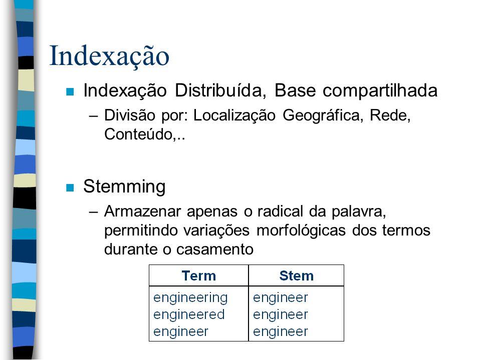 Indexação Indexação Distribuída, Base compartilhada Stemming