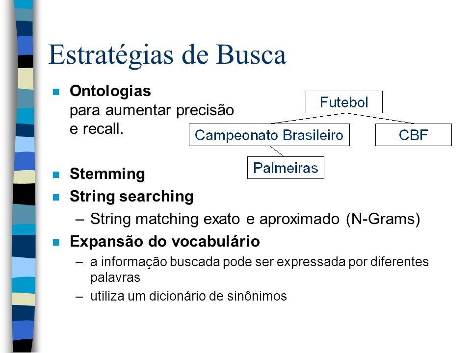 Estratégias de Busca Ontologias para aumentar precisão e recall.