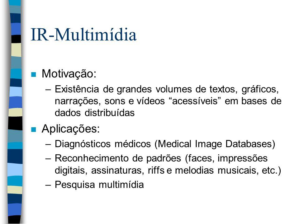 IR-Multimídia Motivação: Aplicações: