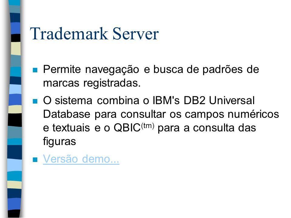 Trademark Server Permite navegação e busca de padrões de marcas registradas.