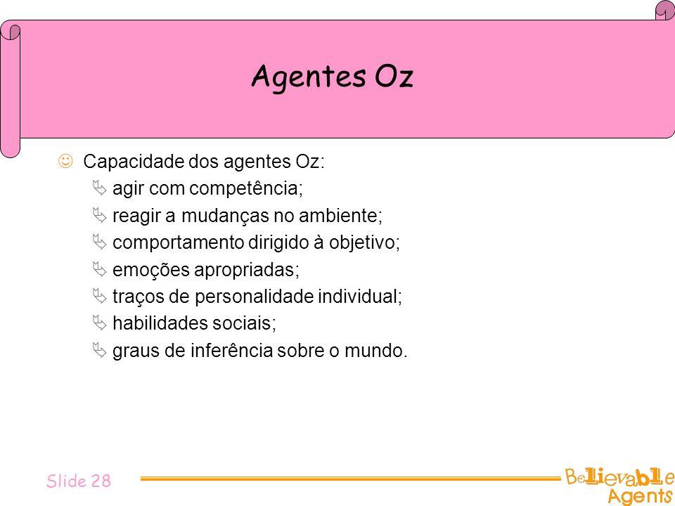 Agentes Oz Capacidade dos agentes Oz: agir com competência;
