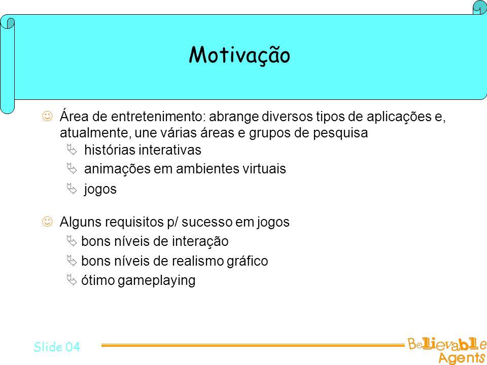 Motivação Área de entretenimento: abrange diversos tipos de aplicações e, atualmente, une várias áreas e grupos de pesquisa.