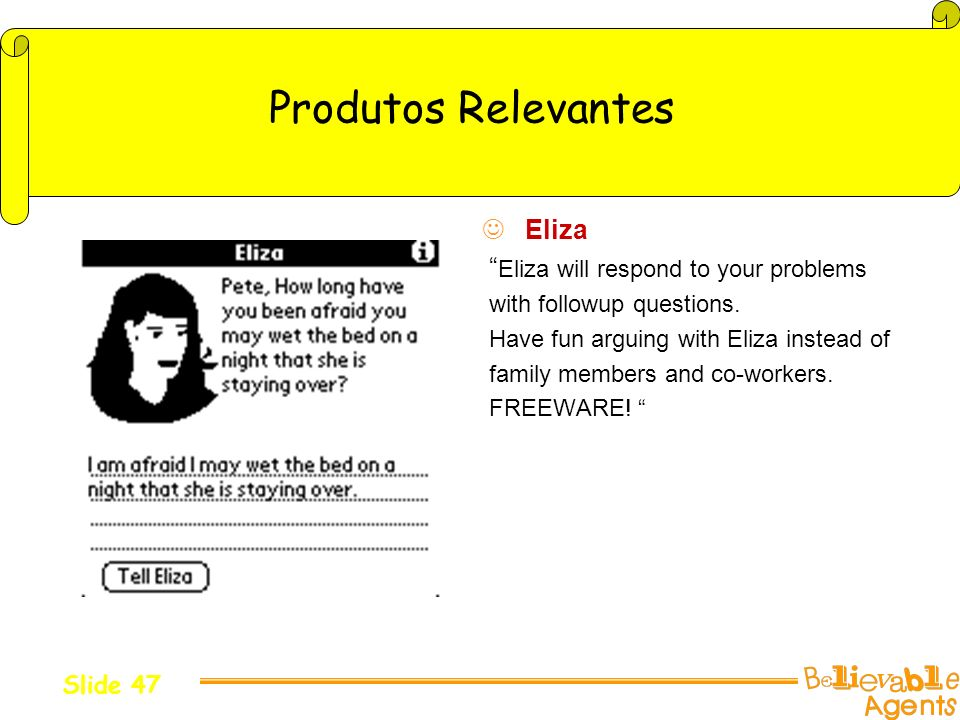 Produtos Relevantes Eliza Eliza will respond to your problems