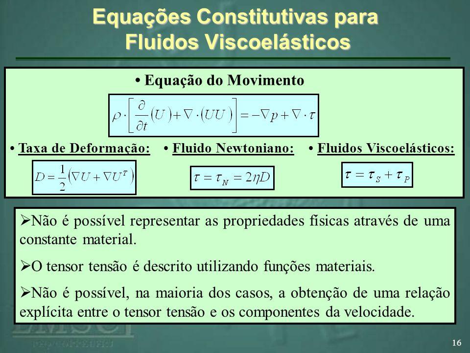 Equações Constitutivas para Fluidos Viscoelásticos