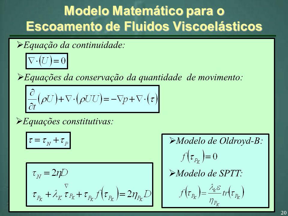 Modelo Matemático para o Escoamento de Fluidos Viscoelásticos