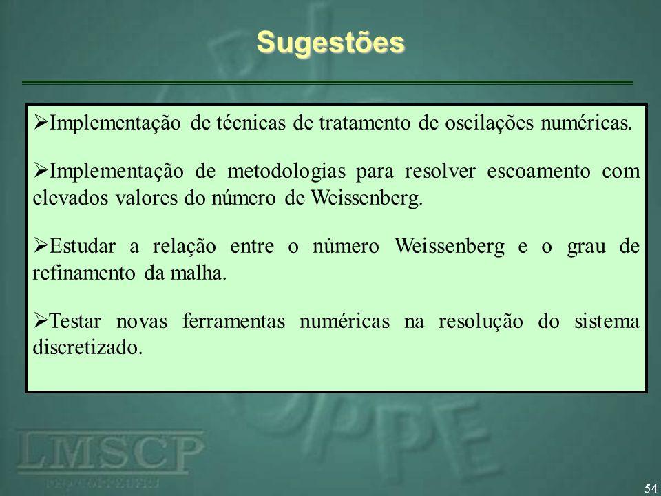 Sugestões Implementação de técnicas de tratamento de oscilações numéricas.