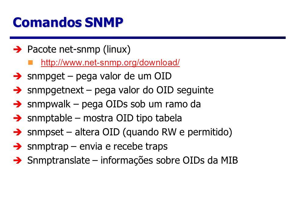 Comandos SNMP Pacote net-snmp (linux) snmpget – pega valor de um OID