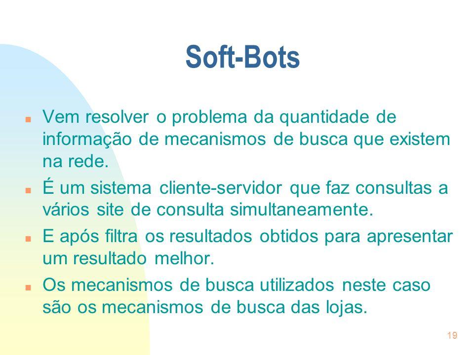 Soft-Bots Vem resolver o problema da quantidade de informação de mecanismos de busca que existem na rede.