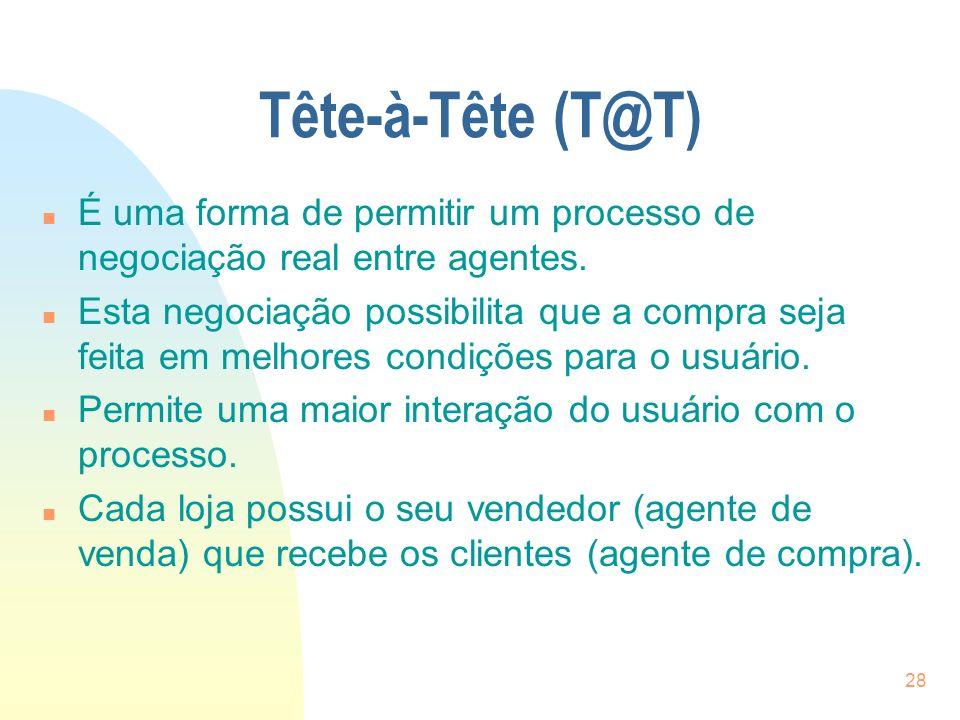 Tête-à-Tête (T@T) É uma forma de permitir um processo de negociação real entre agentes.