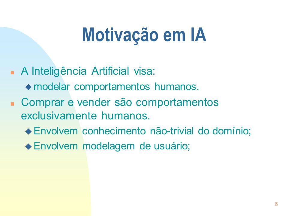 Motivação em IA A Inteligência Artificial visa: