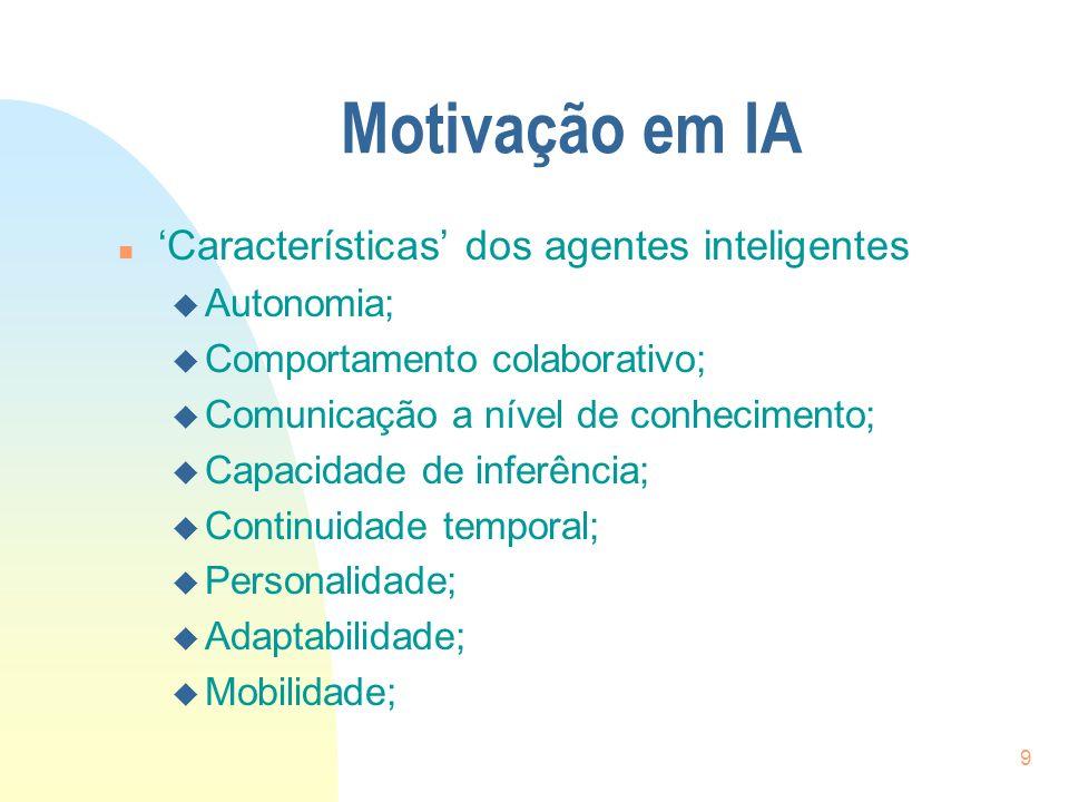 Motivação em IA 'Características' dos agentes inteligentes Autonomia;
