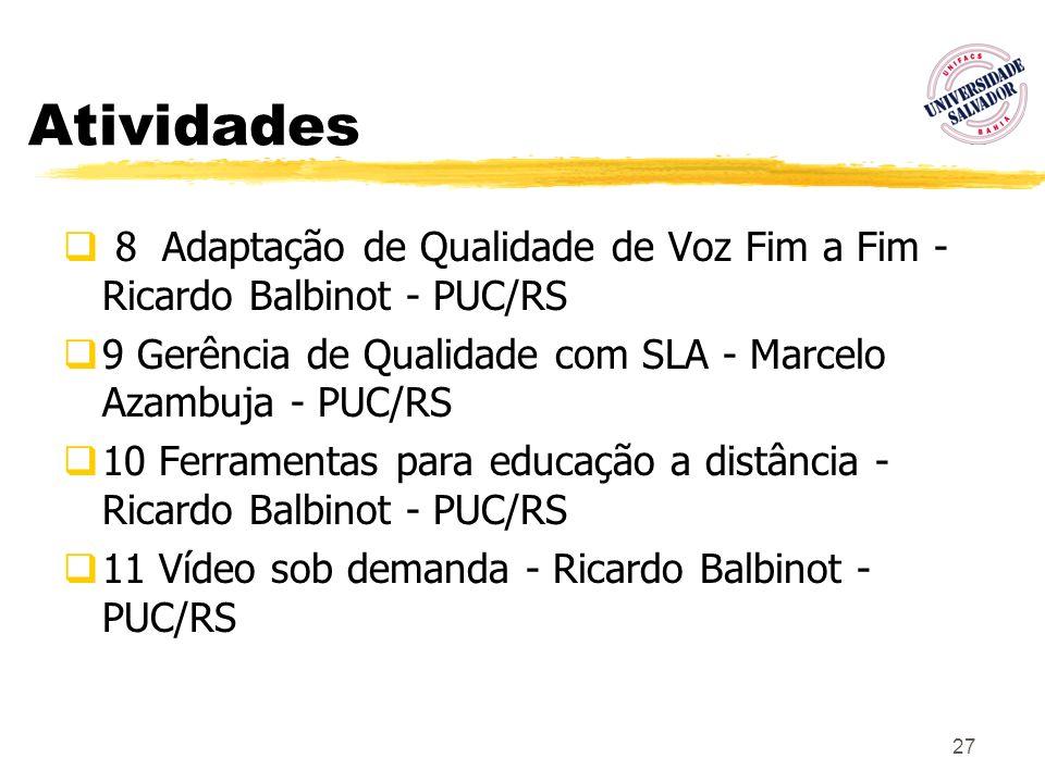 Atividades 8 Adaptação de Qualidade de Voz Fim a Fim - Ricardo Balbinot - PUC/RS. 9 Gerência de Qualidade com SLA - Marcelo Azambuja - PUC/RS.