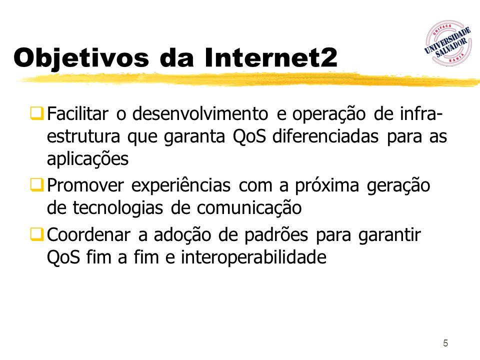 Objetivos da Internet2 Facilitar o desenvolvimento e operação de infra-estrutura que garanta QoS diferenciadas para as aplicações.