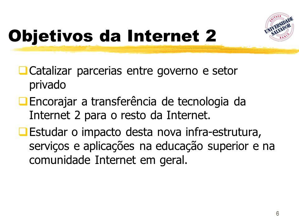 Objetivos da Internet 2 Catalizar parcerias entre governo e setor privado.