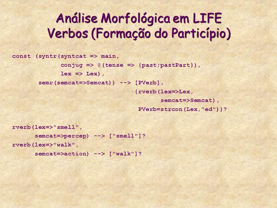 Análise Morfológica em LIFE Verbos (Formação do Particípio)