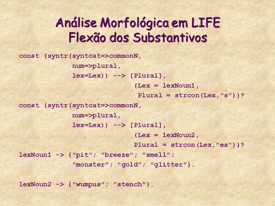 Análise Morfológica em LIFE Flexão dos Substantivos
