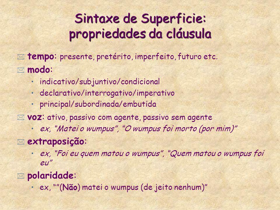 Sintaxe de Superficie: propriedades da cláusula