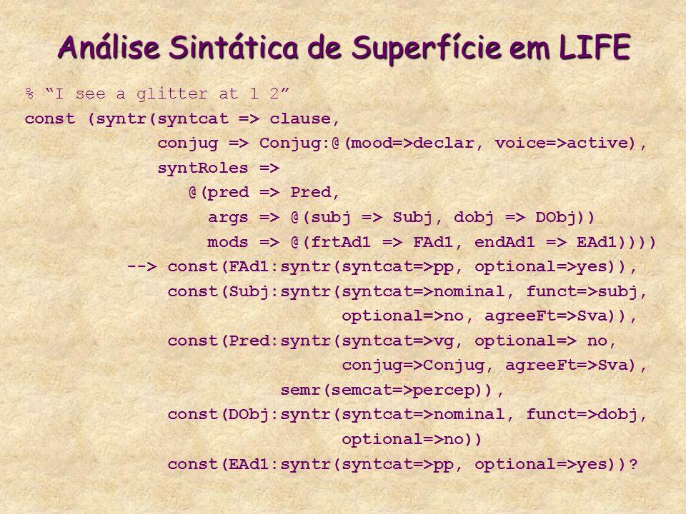 Análise Sintática de Superfície em LIFE