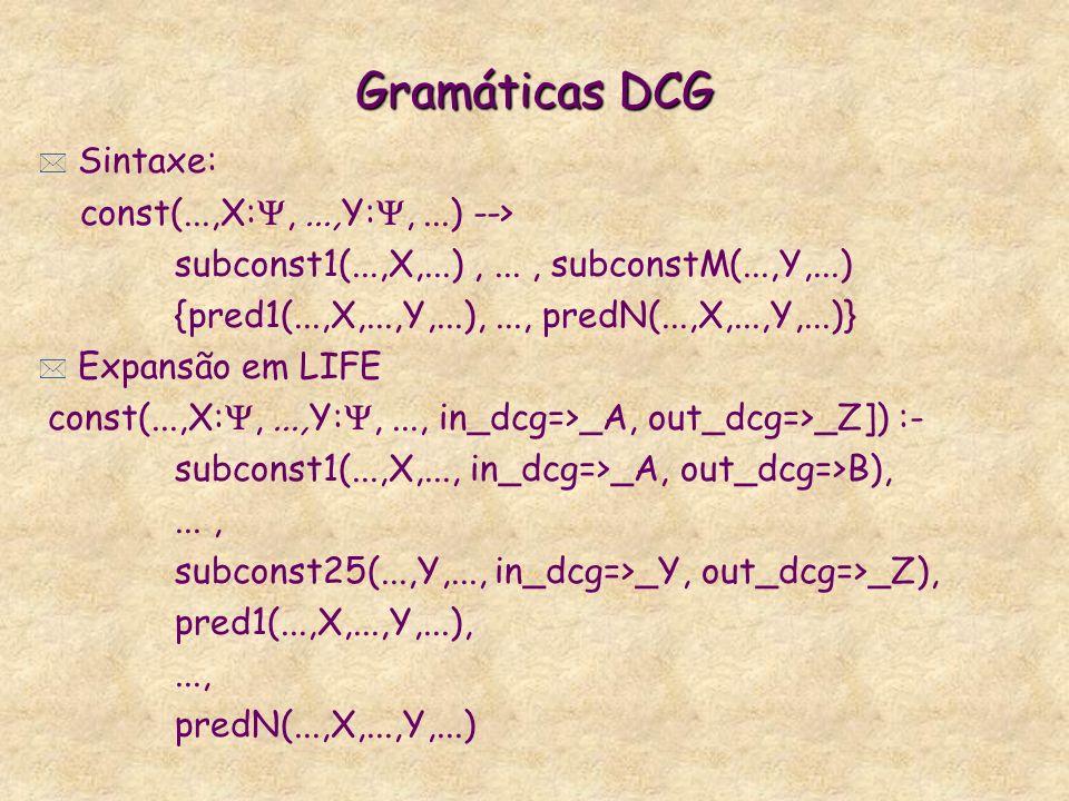 Gramáticas DCG Sintaxe: const(...,X:, ...,Y:, ...) -->