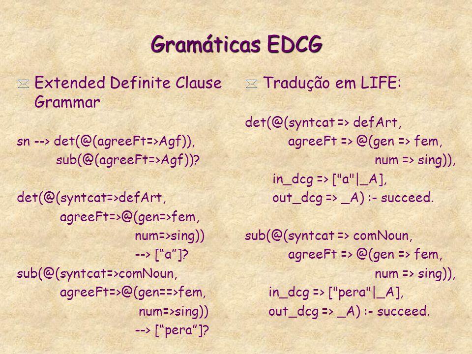 Gramáticas EDCG Extended Definite Clause Grammar Tradução em LIFE: