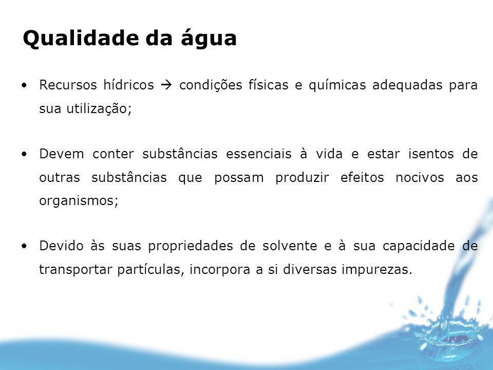 Qualidade da água Recursos hídricos  condições físicas e químicas adequadas para sua utilização;
