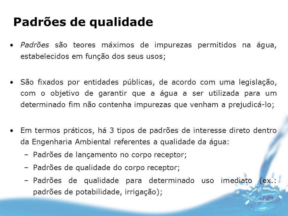 Padrões de qualidade Padrões são teores máximos de impurezas permitidos na água, estabelecidos em função dos seus usos;