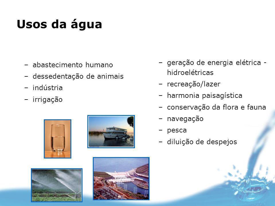 Usos da água geração de energia elétrica - hidroelétricas