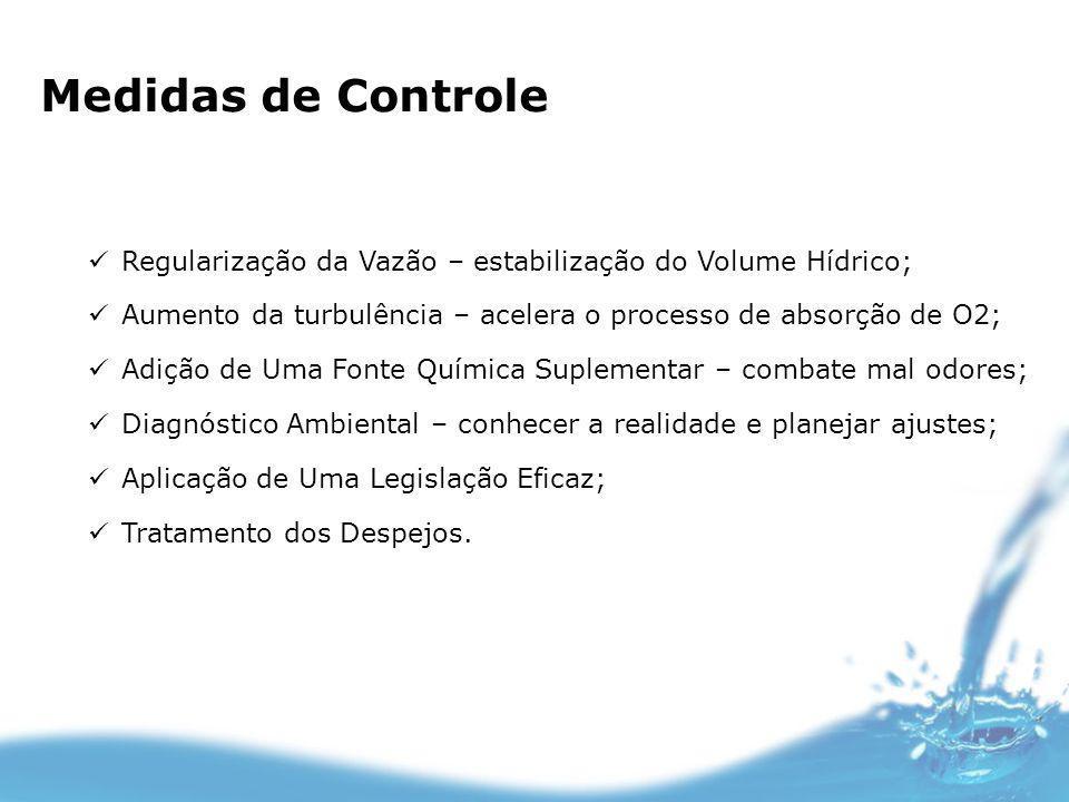 Medidas de Controle Regularização da Vazão – estabilização do Volume Hídrico; Aumento da turbulência – acelera o processo de absorção de O2;