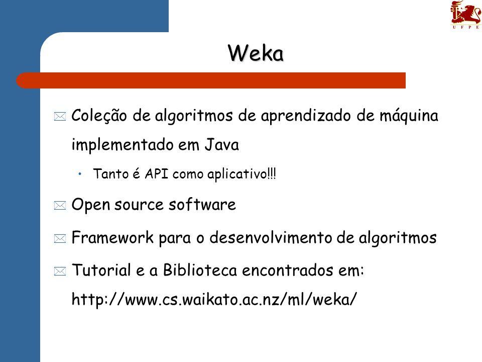 Weka Coleção de algoritmos de aprendizado de máquina implementado em Java. Tanto é API como aplicativo!!!