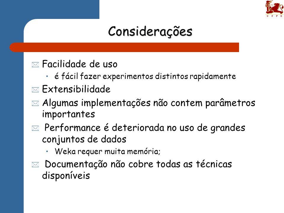 Considerações Facilidade de uso Extensibilidade