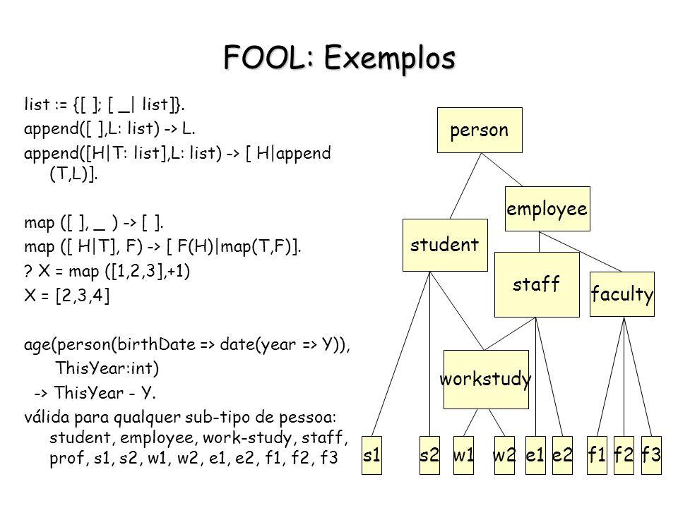 FOOL: Exemplos faculty s1 s2 w1 w2 e1 e2 f1 f2 f3 employee person