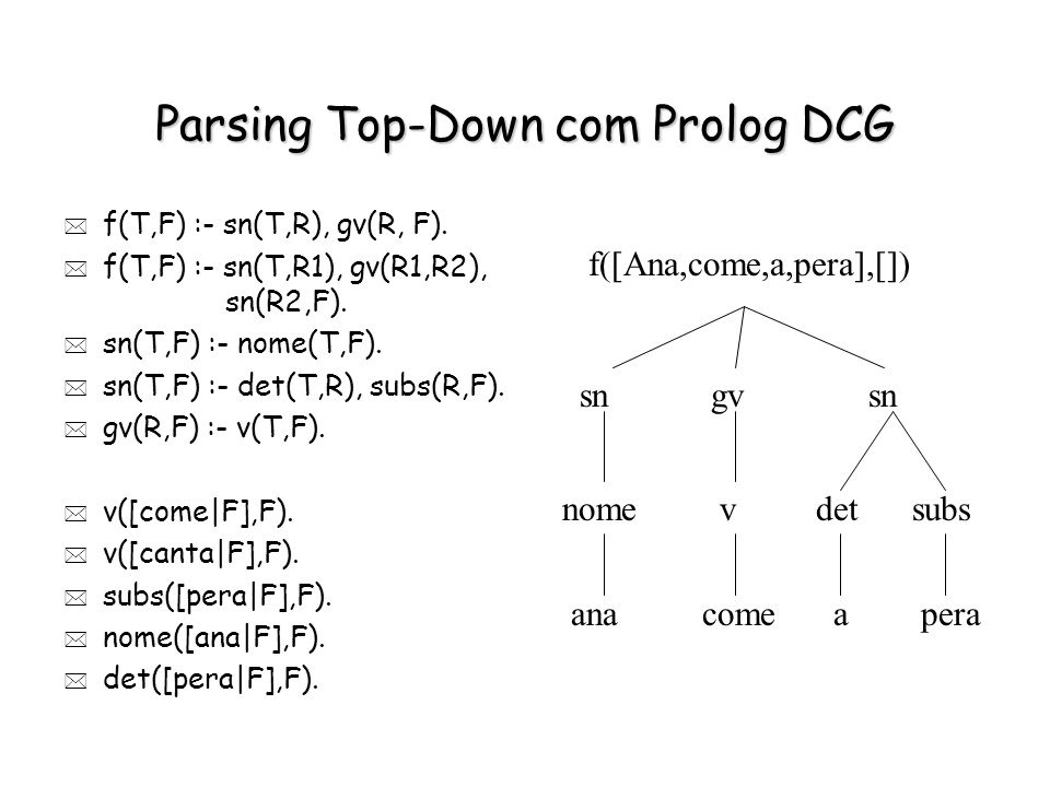 Parsing Top-Down com Prolog DCG