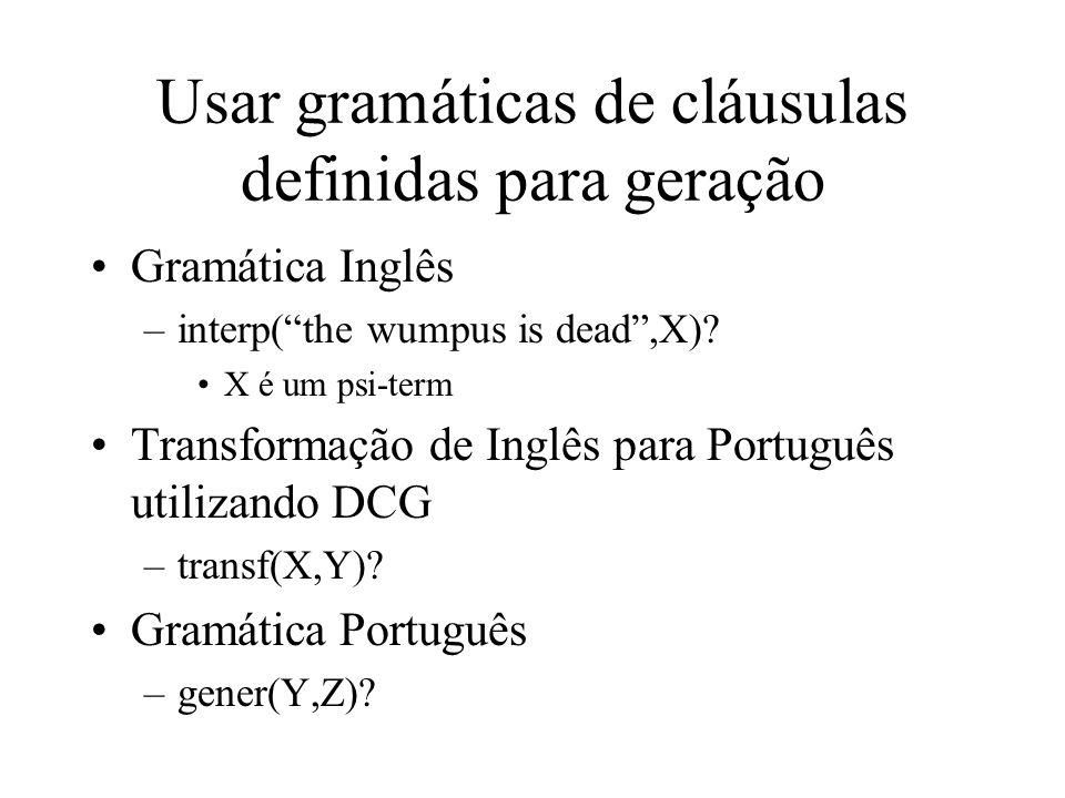 Usar gramáticas de cláusulas definidas para geração