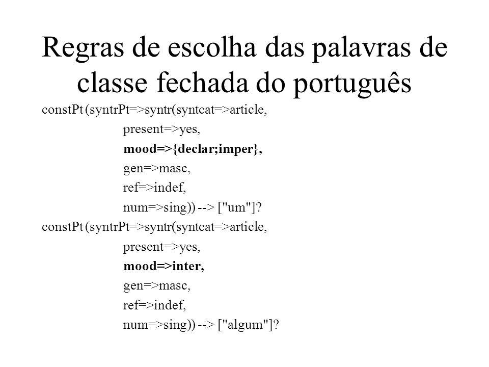 Regras de escolha das palavras de classe fechada do português