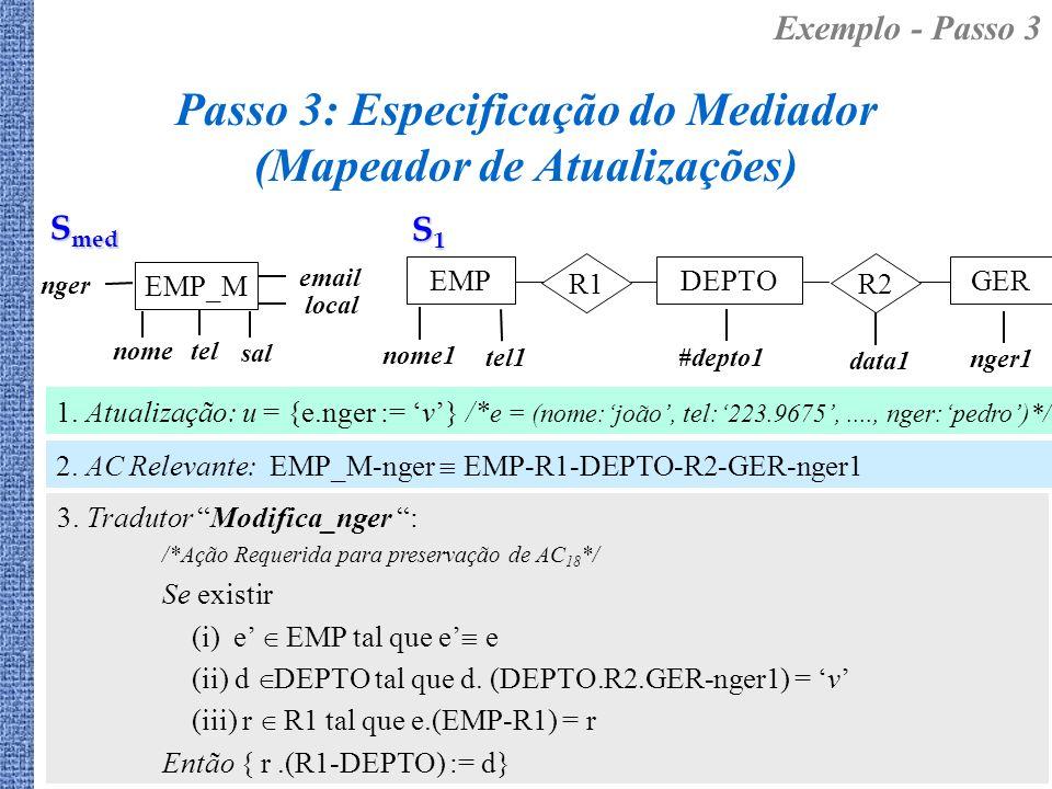 Passo 3: Especificação do Mediador (Mapeador de Atualizações)