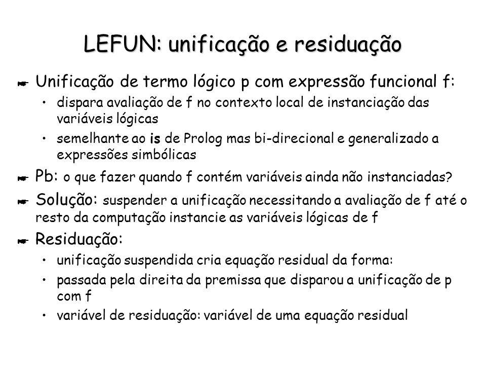 LEFUN: unificação e residuação