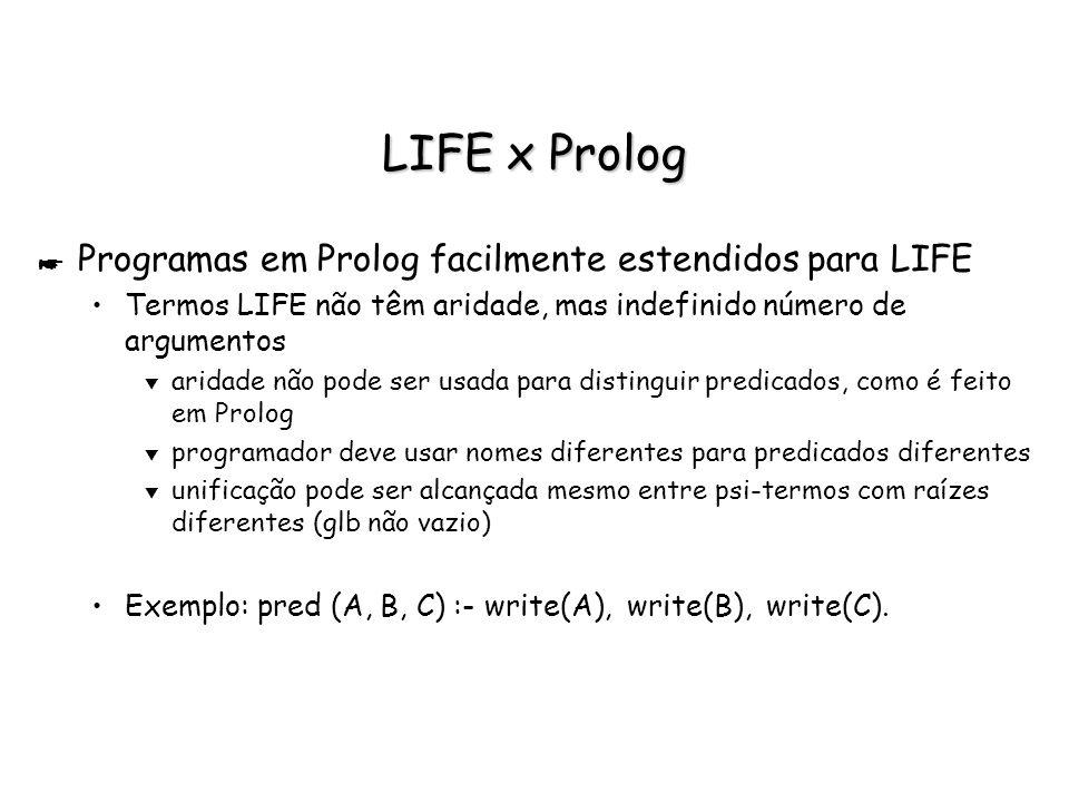 LIFE x Prolog Programas em Prolog facilmente estendidos para LIFE
